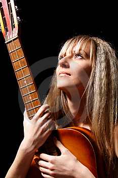 Girl With A Guitar Royalty Free Stock Image - Image: 9623646
