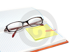 Spectacles On Note Pad Stock Photos - Image: 9626833