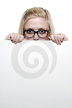 Young Blonde Girl Hiding Behind White Board Royalty Free Stock Images - Image: 9631319