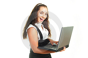 Excited Girl Holding A Laptop Stock Photos - Image: 9633703