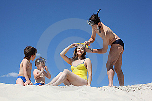 Family Going To Swim With Snorkeling Masks Stock Photo - Image: 9638310