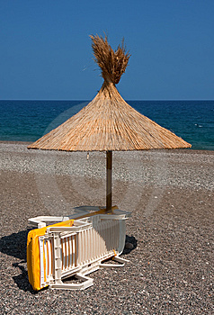 Beach Umbrella And Deckchair Royalty Free Stock Images - Image: 9641749