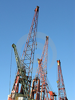 Several Cranes In A Harbor Stock Photos - Image: 9642063