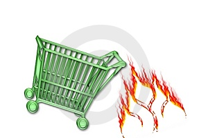 Cart Go Green Hot Sale Shop Stock Photo - Image: 9642630