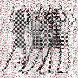 Halftone Raster Dancing Girls Stock Photography - Image: 9643252