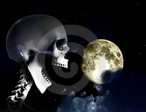 Shouting Skeleton And Nighttime Sky Royalty Free Stock Image - Image: 9643446