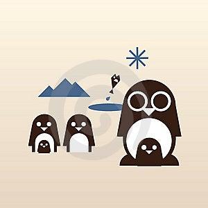 Happy Penguin Family Royalty Free Stock Photo - Image: 9643595
