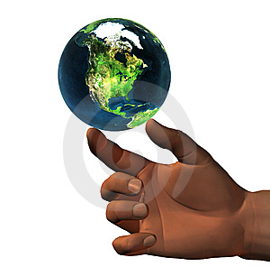 3D Earth On 3D Hand Royalty Free Stock Image - Image: 9665086