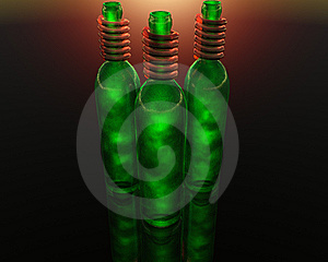3D Green Wine Bottle Stock Photo - Image: 9665260