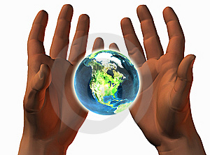 3D Earth On 3D Hands Stock Photo - Image: 9665280