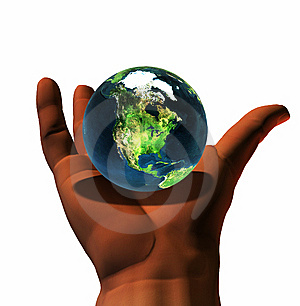 3D Earth On 3D Hand Royalty Free Stock Images - Image: 9665369