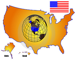 American Map And Flag Royalty Free Stock Images - Image: 9668369