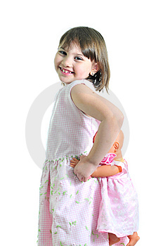 Smiling Girl With Doll Stock Photo - Image: 9668860