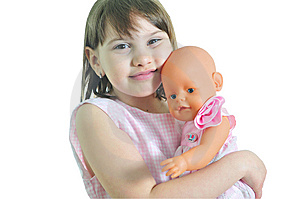 Smiling Girl With Doll Stock Photo - Image: 9668880