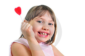 Happy Little Girl With Sweet Royalty Free Stock Photography - Image: 9668927