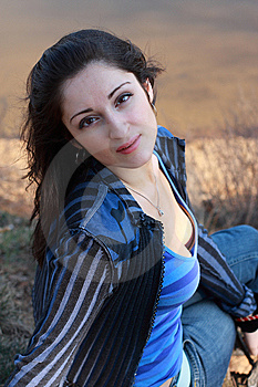 A Woman's Portrait Near The Water Stock Photography - Image: 9670912