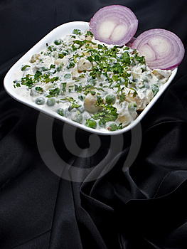 Pea Potato Salad On Black Background Stock Photography - Image: 9671152