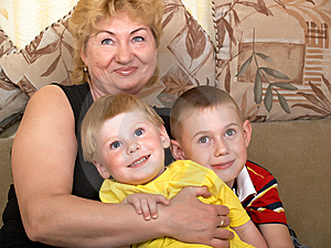 Portrait Of The Grandmother With The Grandsons Royalty Free Stock Photos - Image: 9674738