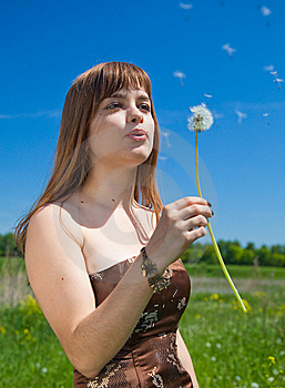 Young Girl Blowing On Dandelion Stock Image - Image: 9677021