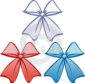 Bows In Patriotic Colors (Vector) Royalty Free Stock Photo - Image: 9679685