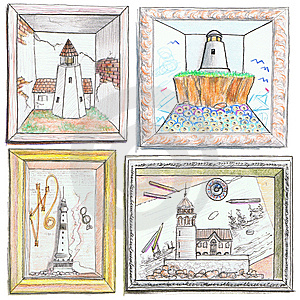 Lighthouse Drawings Stock Photo - Image: 9680250