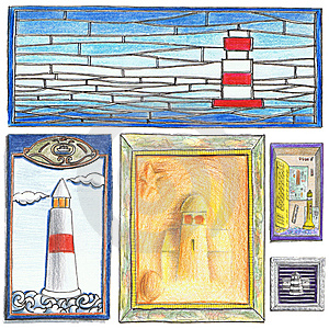 Lighthouse Drawings Royalty Free Stock Image - Image: 9680416