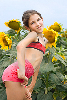 Beauty Teen Girl And Sunflowers Stock Images Image 9680534