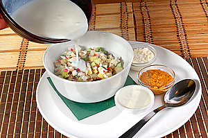 Soup An Okroshka Royalty Free Stock Images - Image: 9681299
