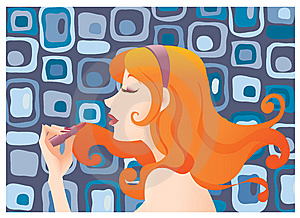 Girl Applying Lipstick Stock Photography - Image: 9685832