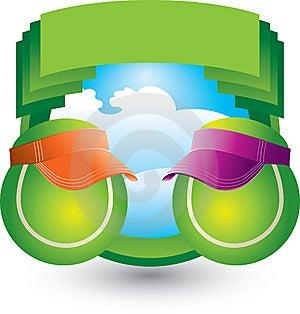 Tennis Balls With Visor On Green Crest Stock Photos - Image: 9686913