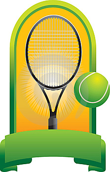 Tennis Ball And Racket In Green Display Royalty Free Stock Photos - Image: 9686928