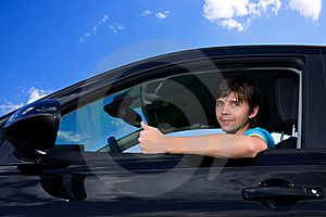 Successful Young Man Sitting In Own Car Stock Photos - Image: 9693253