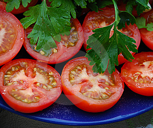 Tomatoes On A Dish Royalty Free Stock Photography - Image: 9695637