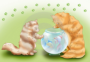 Kitties Whit Crystalball Stock Image - Image: 9697901
