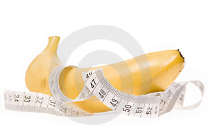 Banana With Measuring Tape Stock Photo - Image: 9699040