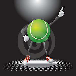 Tennis Ball Character Under The Spotlight Stock Image - Image: 9699391