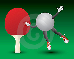 Ping Pong Ball Character And Paddle Royalty Free Stock Photos - Image: 9699398