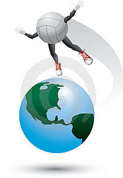 Volleyball Character On Top Of The World Royalty Free Stock Images - Image: 9699449