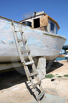 Boat In Dry Dock Royalty Free Stock Images - Image: 979059