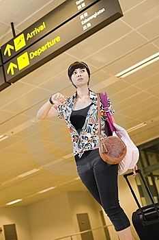 Asian Girl At Singapore's Changi Airport Terminal Stock Image - Image: 9701531