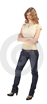 Gloomy Blonde With Crossed Hands Stock Photos - Image: 9704983