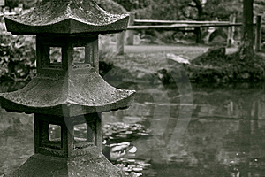 Stoned Sculpture In A Japanese Garden Stock Images - Image: 9705324