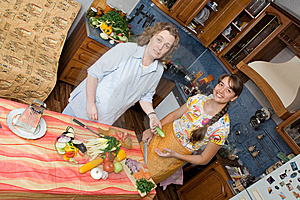 Mother With Daughter Cooking Stock Photos - Image: 9706363
