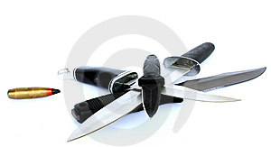 Four Knife`s And A Bullet Stock Images - Image: 9706994