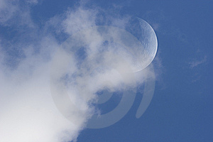 Moon In Day Sky With Clouds Stock Photo - Image: 9708480