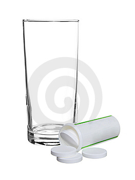 Empty Glass Withe Tablets Aspirin Stock Images - Image: 9709474