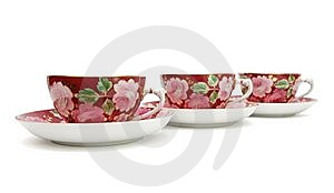Tea Service With Floral Pattern Isolated Stock Photos - Image: 9711423