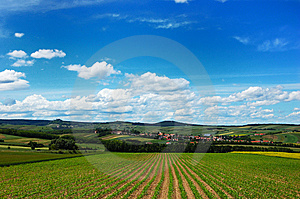 A Scenic View Of A Cozy Village Among The Hills Stock Photo - Image: 9711960