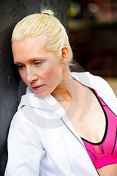 Blond Womanwearing White Tracksuit Stock Photography - Image: 9714332