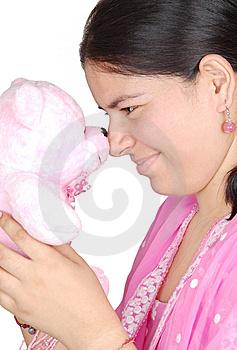 Girl Play With Teddy Royalty Free Stock Photos - Image: 9715098